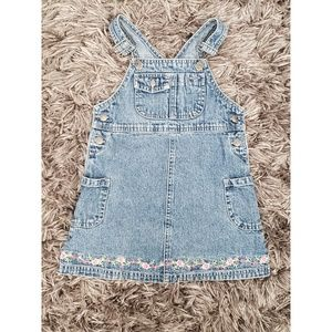 Carter's Overall Embroidered Hem Dress Girls SZ 3T